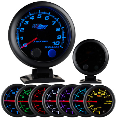 Extreme psi your 1 source for in stock performance parts glow shift tinted 7 color 3 34 tachometer wshift light 28347 sciox Choice Image