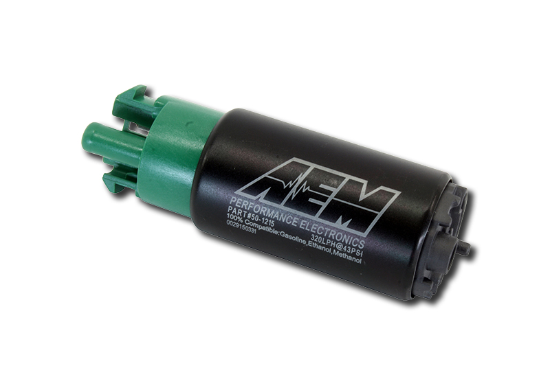 AEM E85 High Flow In-Tank Fuel Pump(65mm with hooks, Offset Inlet) : 320 LPH