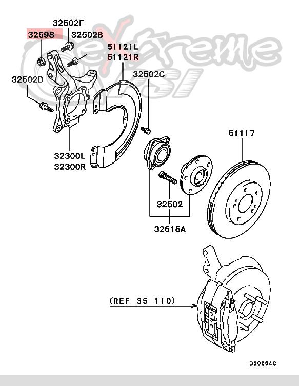 OEM Front Wheel Hub Nut: Mitsubishi Lancer EVO VIII & IX