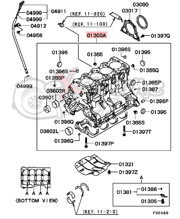 OEM Cylinder Block (Bare, includes 2 dowel bushings MS471111): Mitsubishi Evolution 8