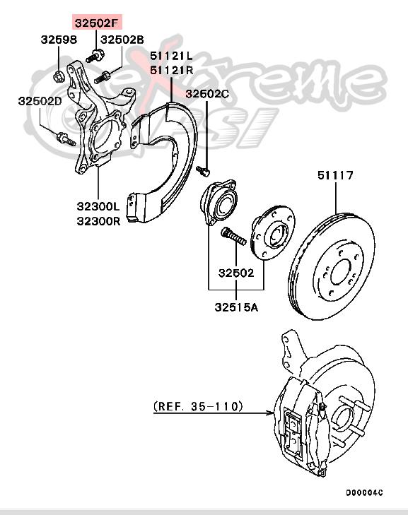 OEM Front Wheel Hub Bolt (upper): Mitsubishi Lancer EVO VIII & IX
