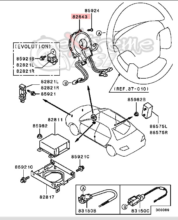 OEM Air Bag Clockspring: Mitsubishi Evolution VIII & IX