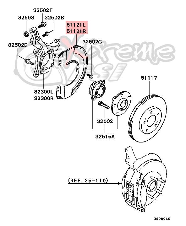 OEM Front Brake Disc Cover: Mitsubishi Lancer EVO VIII & IX