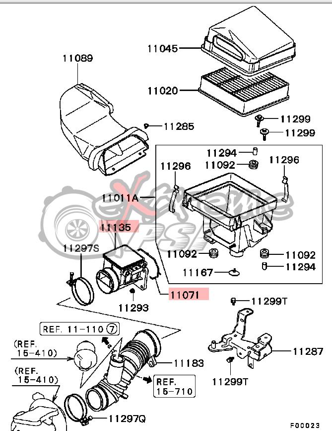 OEM Mass Air Flow Sensor and Gasket: Mitsubishi Evolution 8 & 9