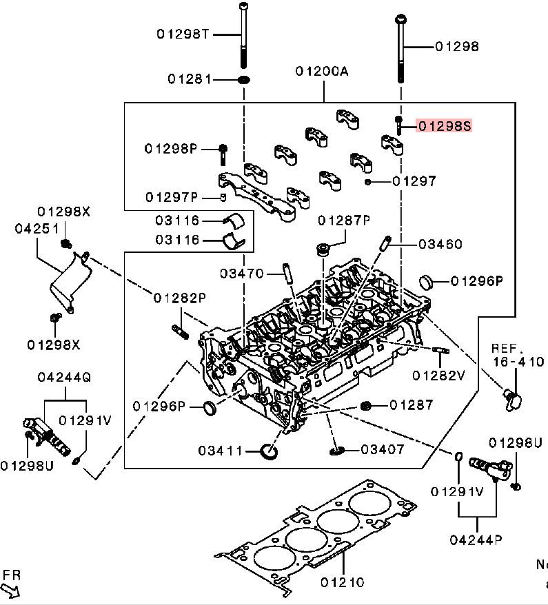 OEM Cylinder Head Cap Bolt: Mitsubishi Evolution X 2008-2015