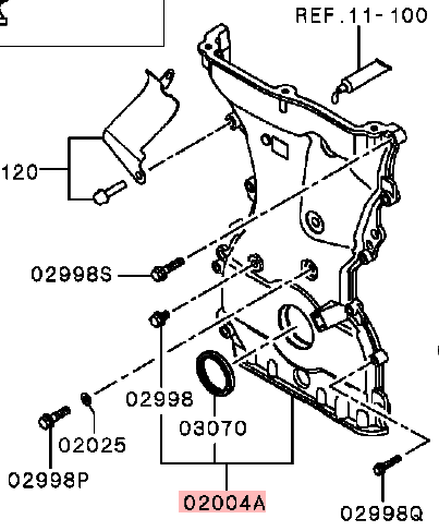 OEM Timing Chain Case Assembly: Mitsubishi EVOLUTION X 2008-2015