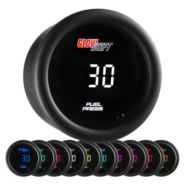 Glow Shift 10 Color Digital Fuel Pressure Gauge: 0-30 PSI