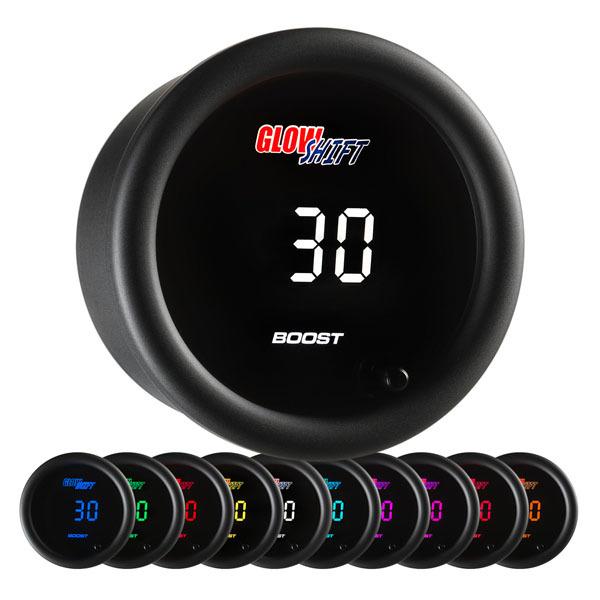 Glow Shift 10 Color Digital Boost/Vacuum Gauge: 0-45 PSI/-30-0 inHG