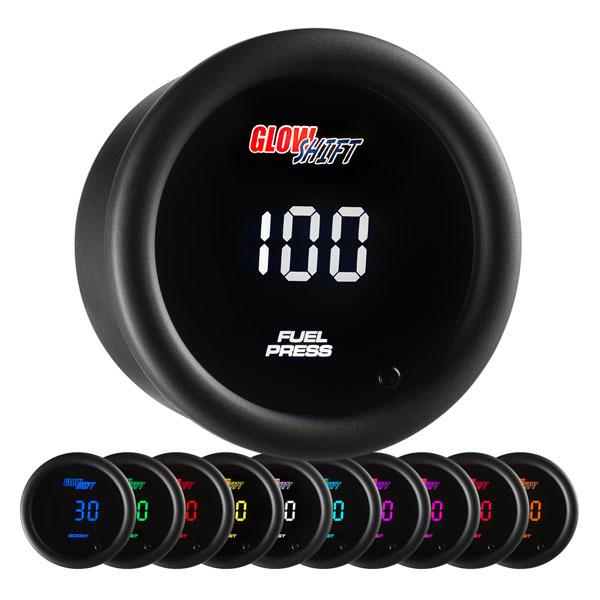 Glow Shift 10 Color Digital Fuel Pressure Gauge: 0-100 PSI
