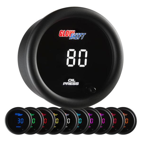 Glow Shift 10 Color Digital Oil Pressure Gauge: 0-145 PSI