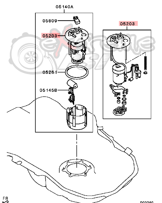 OEM Mitsubishi In Tank Fuel Filter: Mitsubishi EVO X