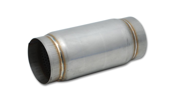 """Vibrant Stainless Steel Race Muffler: 4"""" Inlet/Outlet x 5"""" Long"""