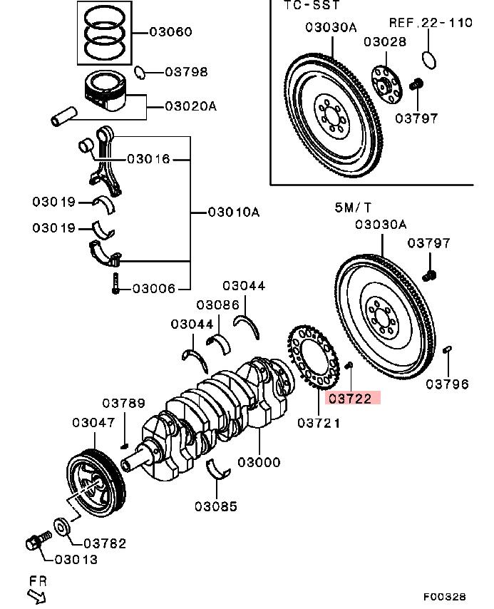 OEM Crankshaft Screw for Sensing Ring: Mitsubishi Evolution X