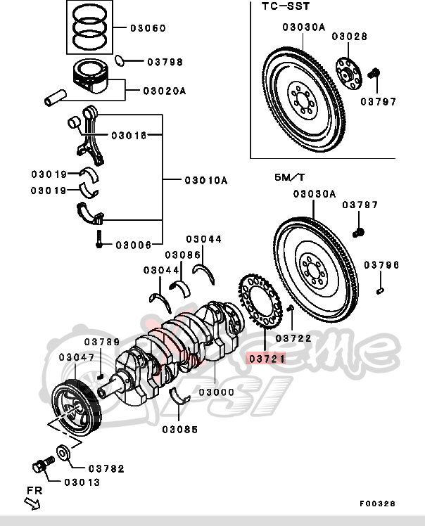 OEM Crankshaft Sensing Ring: Mitsubishi Evolution X 2008-15 4B11T