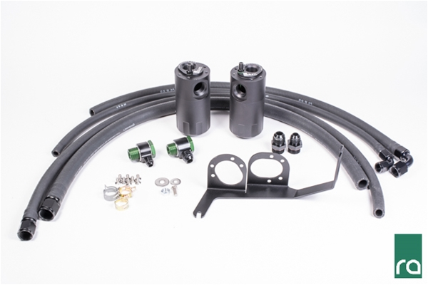 Radium Engineering Dual Oil Catch Can Kit: Subaru WRX 2015+