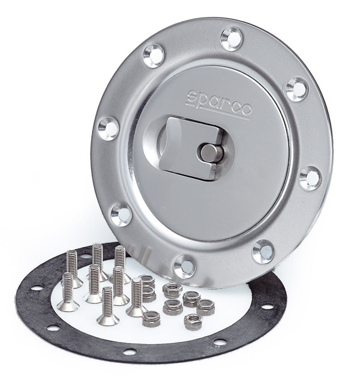 Sparco Locking Brushed Aluminum Fuel/Gas Cap: Universal