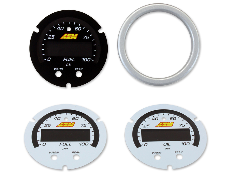 AEM X-Series Pressure Gauge 0~100psi / 0~7bar Accessory Kit (Silver Bezel. Black Fuel Faceplate. White Oil & Fuel Faceplates)