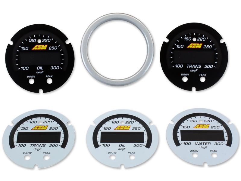 AEM X-Series Temperature Gauge 100~300F / 40~150C Accesory Kit (Silver Bezel. Black Transmission & Oil Faceplates. White Water, Transmission & Oil Faceplates)