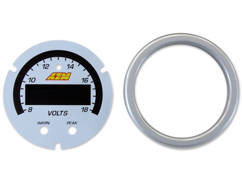 AEM X-Series Volt Gauge 8~18V Accessory Kit (Silver Bezel & White Faceplate)