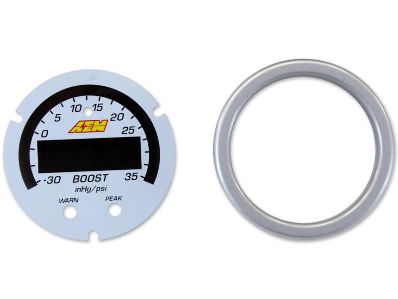 AEM X-Series Boost Pressure Gauge -30inHg~35psi / -1~2.5bar Accessory Kit (Silver Bezel & White Faceplate)