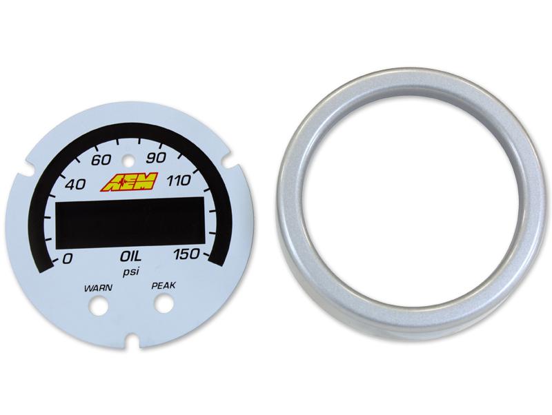 AEM X-Series Oil Pressure Gauge 0~150psi / 0~10bar Accessory Kit (Silver Bezel & White Faceplate)