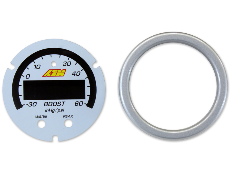 AEM X-Series Boost Pressure Gauge -30~60psi / -1~4bar Accessory Kit (Silver Bezel & White Faceplate)