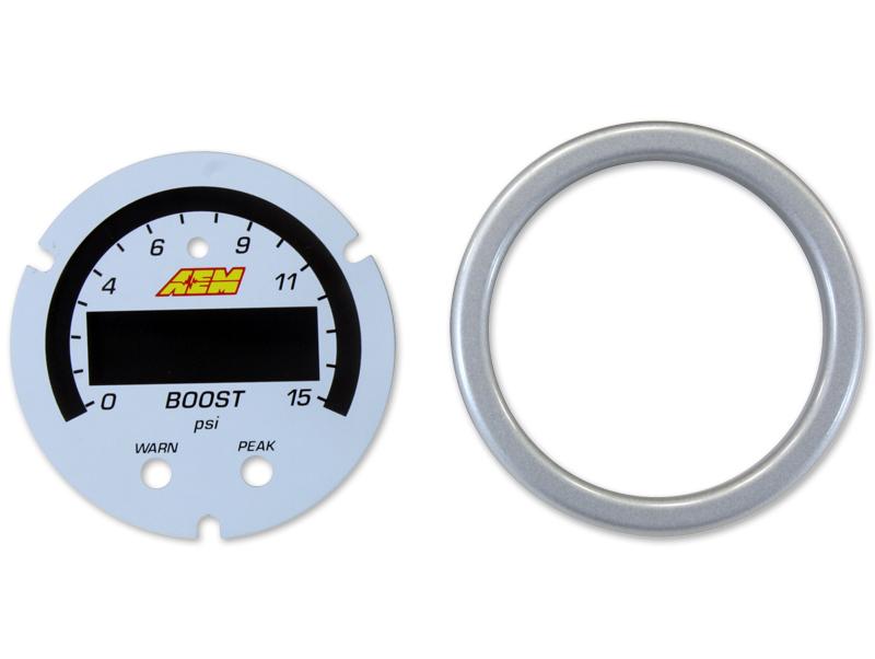 AEM X-Series Boost/Fuel Pressure Gauge: 0-15 PSI Accessory Kit (Silver Bezel & White Boost/Fuel Faceplate)