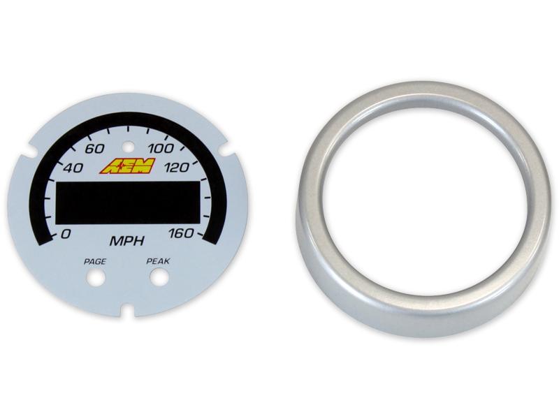 AEM X-Series GPS Speedometer Gauge 0~160mph / 0~240kph Accessory Kit (Silver Bezel & White Faceplate)
