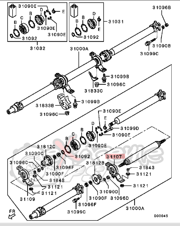 OEM Propeller Shaft Center Bearing (Carrier Bearing) : Mitsubishi Evolution X (Rear)