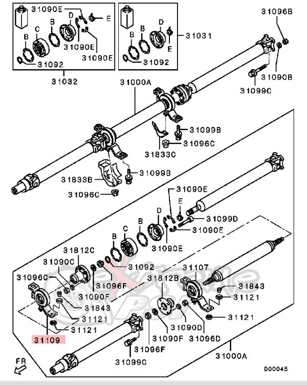OEM Propeller Shaft Center Bearing (Carrier Bearing) : Mitsubishi Evolution X (Front)