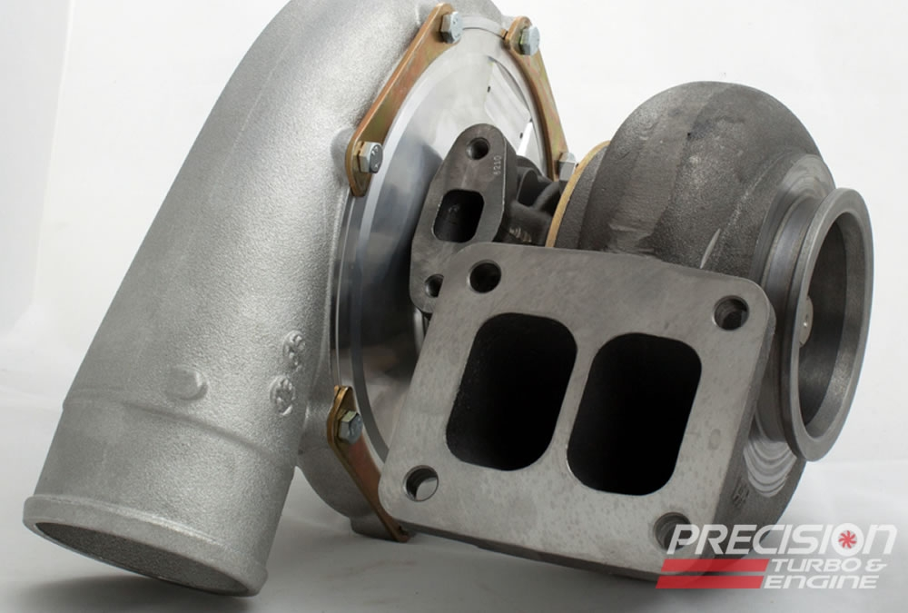"""Precision T & E T4 Divided Inlet with 3 5/8"""" V-Band Discharge Turbine Housing : 66mm Turbine Wheel"""