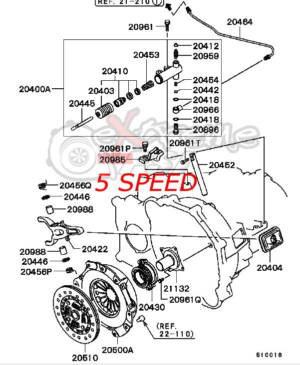 OEM Manual Transmission Clutch Control Bracket: Mitsubishi Lancer EVO VIII & IX