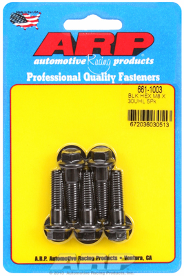 ARP Crank Pulley Bolt Set: M8 x 1.25 x 30 hex black oxide bolts (Set of 5)