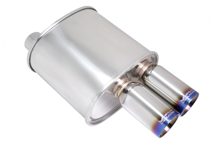 "Megan Racing F-RT Dual Burnt Tip Muffler: 2.50"" Inlet"