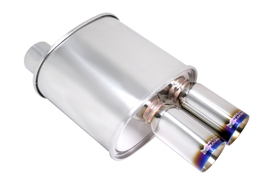 "Megan Racing F-RT Turbo Dual Burnt Tip Muffler: 3.00"" Inlet"