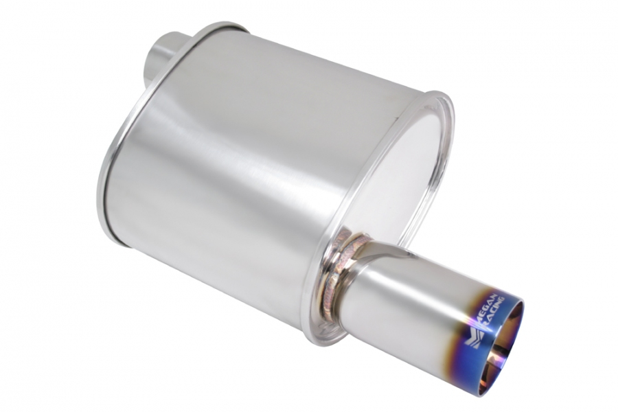 "Megan Racing F-RT Turbo Burnt Tip Muffler: 3.00"" Inlet"
