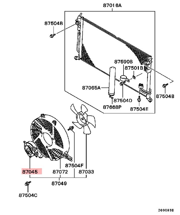 OEM A/C Condenser Fan Motor: Mitsubishi EVOLUTION VIII & IX 2003-2006