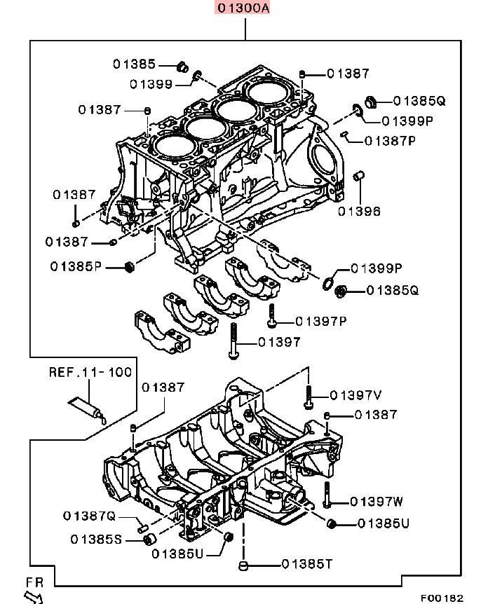OEM Bare Cylinder Block: Mitsubishi Evolution X 2008-2015 (4B11T)