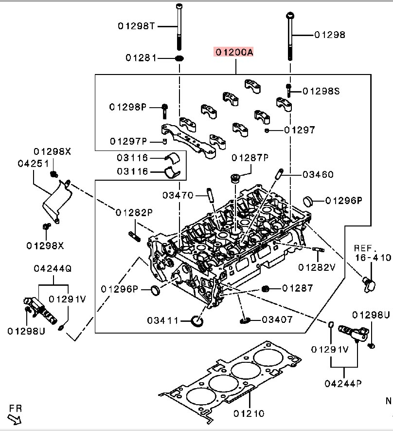 Genuine OEM Mitsubishi Bare Cylinder Head: Mitsubishi Evolution X 11/2007-08/2015 (4B11T)
