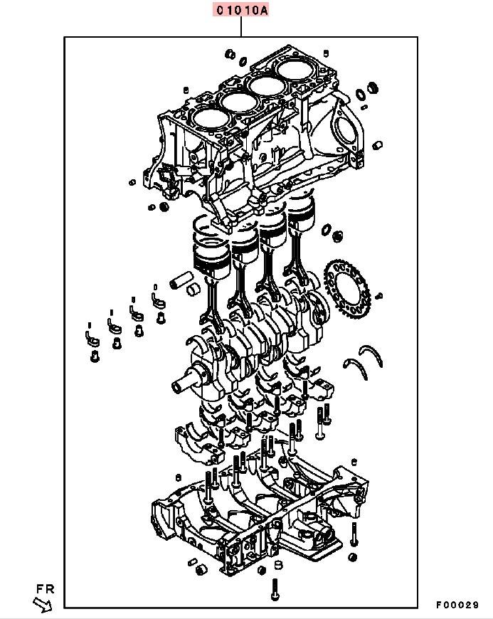OEM Short Block: Mitsubishi Evolution X 11/2007-12/2011 (4B11T)