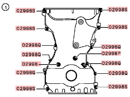 OEM Timing Chain Bolt Kit: Mitsubishi Evolution X 11/2012-12/2015