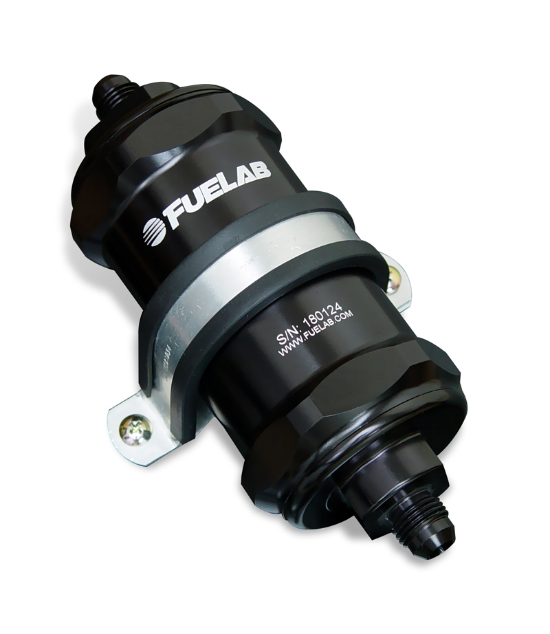 Fuelab 818 Series In-Line Fuel Filter (40 Micron SS): -8AN Inlet/Oulet (Standard Length)