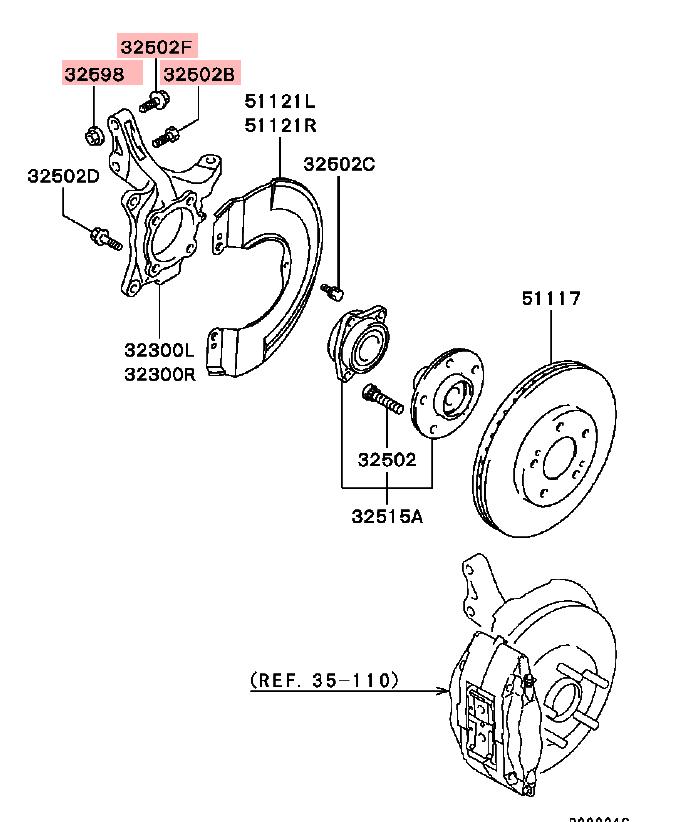 OEM Front Strut to Knuckle Bolt Kit: Mitsubishi EVO 8 & 9