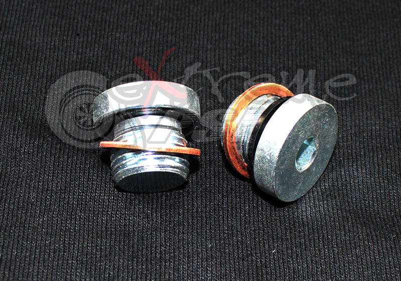 Extreme PSI Steel End Cap (Blockoff Plug): 14MM x 1.5 (2x) w/ 14mm Copper Crush Washers (2x)