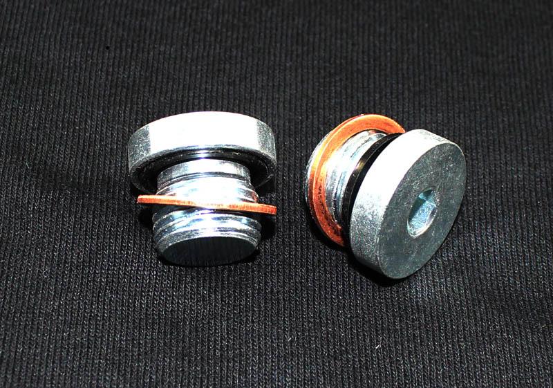 Extreme PSI Engine Oil Cooler Delete 16MM x 1.5 Blockoff Plug (2x) w/ 16mm Copper Crush Washer (2x): Mitsubishi Eclipse 90-99