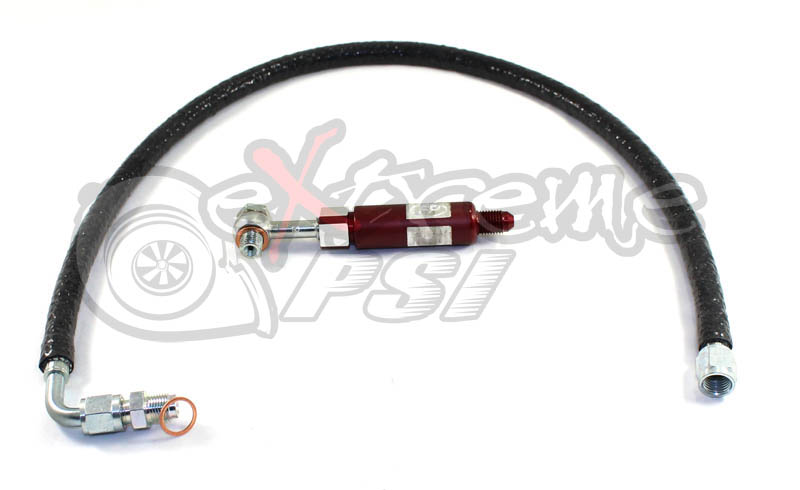 Extreme PSI Oil Feed Line Kit w/ FP Inline Filter (Head Location) for FP Turbo: Mitsubishi Evolution VIII & IX