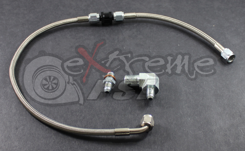 Oil Feed Line Kit w/ 35 Micron Filter (Oil Filter Location): Mitsubishi Eclipse 90-99