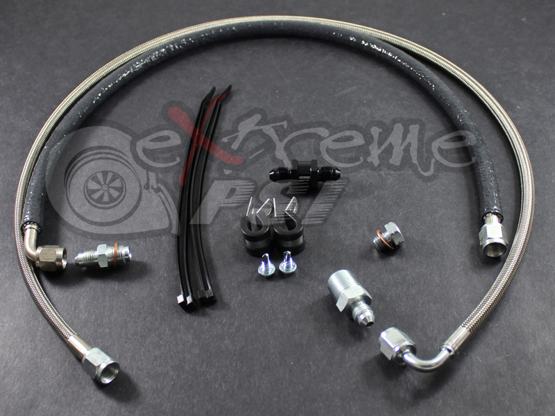 Extreme PSI Oil Feed Line Kit (Oil Filter Location) with Filter: Mitsubishi EVO VIII & IX