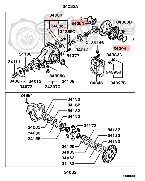 OEM Differential Case Bearing : Mitsubishi EVO VIII, IX, X