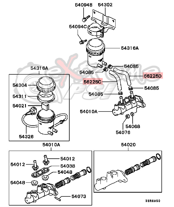 extreme psi your 1 source for in stock performance parts Dodge Brake Diagrams 1973 oem brake fluid reservoir hose mitsubishi eclipse 1997 1999 31623